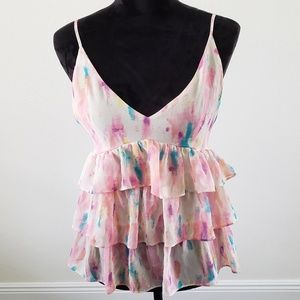 B2G1 Rory Beca Pretty Pink Watercolor Ruffle Tank